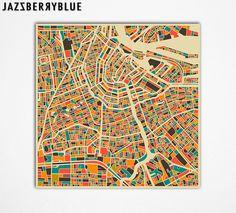 Home!! <33. AMSTERDAM Map, Giclee Fine Art Print, Wall Art, Home Decor by Modern Artist Jazzberry Blue op Etsy, 21,73€
