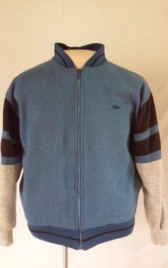 Vintage CHRISTIAN DIOR Monsieur Full Zip Blue Knit Pockets Jacket Men's MEDIUM #ChristianDior #BasicJacket