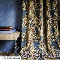 #GPRepost,#reposter,#notetag @lewisandwood via @GPRepostApp ======> @lewisandwood:Winter was made for a rich velvet like this Rococo beauty in the Imperial colourway. #velvet #printedvelvet #pattern #interiorinspiration #blueandgold #rococo #curtain #decorativedrape