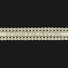Entredós con cinta de encaje de bolillos de algodón mercerizado de 2,3 cm. (Disponible en 2 colores)