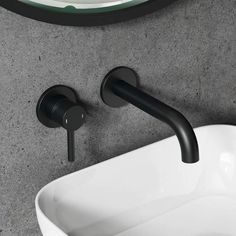 Vellamo Twist Matt Black Wall Mounted Basin Tap with Easy Plumb Installation Kit | MLTABE9 | Drench