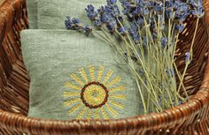 Little Lavender Pillows with Straw Star Embroidery