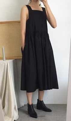 Your place to buy and sell all things handmade Minimalist Dresses, Minimalist Fashion, Minimalist Style, Fall Dresses, Casual Dresses, Fashion Dresses, Apron Dress, Dress Skirt, Navy Blue Dress Casual