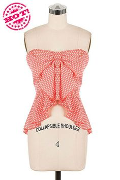 *** New Style *** Fun Strapless High Low Tank Blouse with Cutesy Bow Accent Chest in Pretty Floral Pattern.