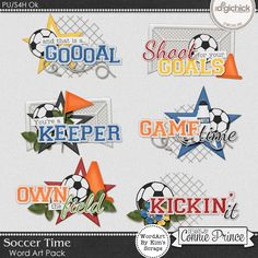 Soccer Time - WordArt Pack by Kim using Soccer Time by Connie Prince. Includes 6 cluster wordart images, saved in PNG format. Shadows are included. Scrap for hire / others ok.