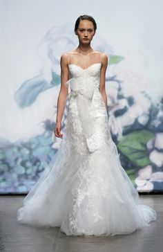 Wedding Dresses: Detailed Lace Dress with Tulle Bow by Monique Lhuillier Bridal Dress