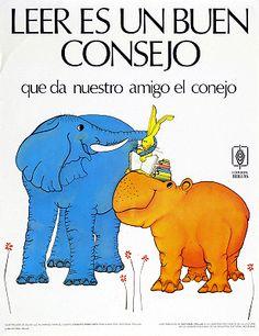 Leer es un buen consejo que da nuestro amigo el conejo / Ilustración de Silvia Luz Alvarado (1985)