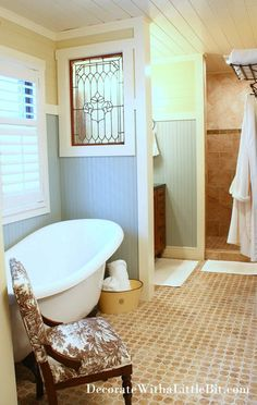 Stone Look Hex Tile, Champagne Bubble Tub, Vintage WIndow, Beadboard... So Gorgeous