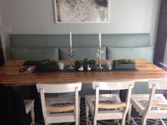 Custom banquette and slab dining table