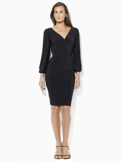 Split-Sleeve Draped Dress - Lauren Evening Dresses - RalphLauren.com