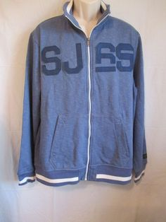 SEAN JOHN MEN'S SWEAT TRACK PIQUE JACKET ZIPPER FRONT BLUE/WHITE XL EUC #SeanJohn #BasicJacket