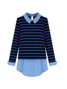 Polo Collar Striped Style Plus Size Long Sleeve Blouse