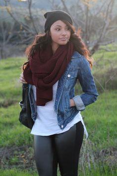 Leather leggings, w/maroon scarf <3