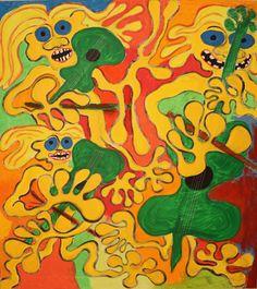 Trio / Maarit Korhonen, acrylic, oil pastels, canvas, 81cm x 73cm Music Painting, Online Painting, Dark Paintings, Original Paintings, Autumn Painting, Original Art For Sale, Art Oil, Find Art, New Art