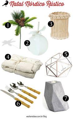 mesa de natal nórdica rústica com wishlist.