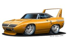 muscle car caricatures   Details about Plymouth Superbird Muscle Car Cartoon Art Print