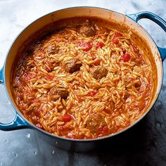 Nigella Lawson's delicious one-pot recipe for Orzo with Meatballs is a comforting and warming pasta dish perfect for wintry weekend cooking. One Pot Dishes, One Pot Meals, Pasta Dishes, Nigella Lawson Meatballs, Pasta Recipes, Cooking Recipes, Meat Recipes, Savoury Recipes, Pork