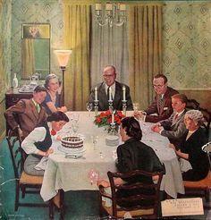 """""""Family Birthday Party"""" By John P. Falter Иллюстрации Арт, Художественные Картины, Семейные Дни Рождения, Норман Роквелл, Старинные Карты, Апельсиновые Деревья, Старые Объявления, Ретро Винтаж"""
