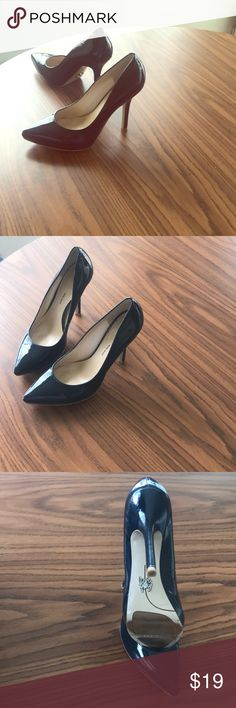 "Patent leather ""Navy Blue""  NINE WEST!!!  Heels Get ready for work!!!  ""You better work""! Classic staple piece, for  any  Office attire. US women's size 8 designer  ""NINE WEST"" contemporary style 5-6inch heel ,feel free to dress this >>>>up or down——-day or night !  Enjoy!! Nine West Shoes Heels"