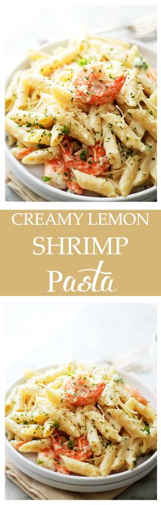 Creamy Lemon-Shrimp Pasta | www.diethood.com | Lemony, creamy, cheesy Shrimp and Pasta dinner that's ready in 30 minutes, from start to finish!