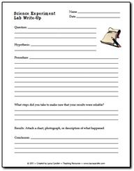 Free Science Experiment Write Up Form #Home