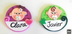 Distintivos de goma eva para baby shower