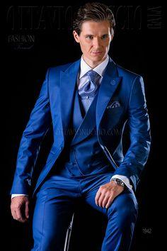 Royal blue three piece groom suit  wedding - tuxedo - formalwear - luxury - menswear - dapper - madeinitaly