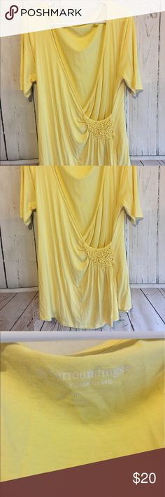 """Soft Surroundings Sz L Yellow Wrap Blouse This Blouse is so soft! It is a Wrap with beautiful detail. It measures 33"""" long and 21.5"""" from armpit to armpit when it is laid flat. It is 100% Rayon. If you need additional measurements please let me know and I will get them to you quickly before purchasing. Soft Surroundings Tops Blouses"""