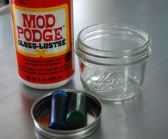 Making vintage blue jars and vases out of regular glass ones.