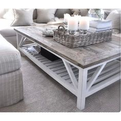 Farmhouse Coffee Table ($225) ❤ liked on Polyvore featuring home, furniture, tables, accent tables, farmhouse coffee table, country home furniture, farmhouse furniture, country table and farm house table