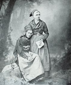 Two ladies in danish traditional costume. 1880s.