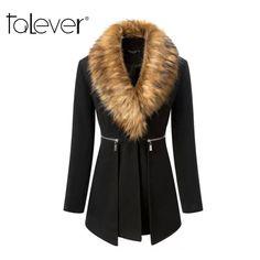 6a72527ab1aa2 2017 New Autumn Winter Fashion Women Coat Cashmere Black Long Wool Coat  With Big Fur Collar Female Warm Outwear Plus Size