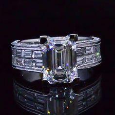 5.19 Ct. Emerald Cut Diamond Ring F,VVS1 GIA