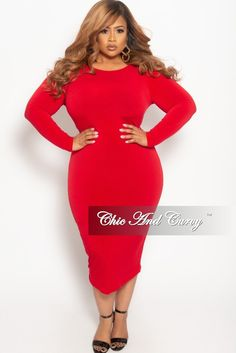 5f2fbcbfb7 Final Sale Plus Size Long Sleeve BodyCon Dress with V-Neck Back in Red