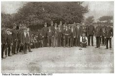 Police and striking employees of English China Clays, posing in this group photograph in Trevisco, nr St Austell in 1913. photo via Facebook. Truro Cornwall, Engine House, China Clay, English China, Iron Age, Medieval Castle, Clays, Photographs, Photos
