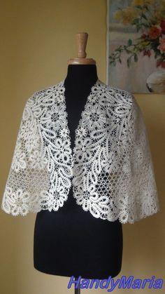 Crochet Inspiration - Chal de encaje de bolillos capa Bolero nupcial de