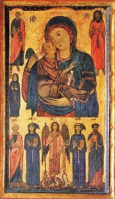 Bonaventura Berlinghieri 1210-1287 (Italian painter, active in mid-13th century) Madonna and Child with Saints and Crucifixion 1260-70
