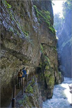 Hiking a trail through the Partnachklamm (Partnach Gorge) ... in Bavaria, Germany