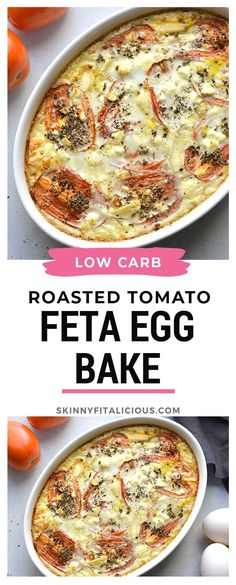 Cheesy Roasted Tomato Egg Bake is a high protein low carb breakfast filled with roasted tomatoes garlic spices and creamy feta. Cheesy Roasted Tomato Egg Bake is a high protein low carb breakfast filled with roasted tomatoes garlic spices and creamy feta. Low Carb Breakfast Easy, Healthy Breakfast Recipes, Brunch Recipes, Breakfast Egg Bake, Tomato Breakfast, Low Carb Breakfast Casserole, Healthy Low Calorie Meals, Low Calorie Recipes, Tomato Egg Bake