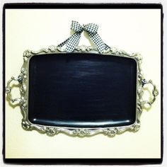 Vintage Silver Chalkboard Tray by LittleMissBerry on Etsy, $25.00