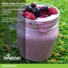 isapure.com.au:Berry IsaNiceCream | IsaLean Shake with berries and frozen bananas. #Isagenix #wwity