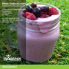 isapure.com.au:Berry IsaNiceCream | IsaLean Shake with berries and frozen bananas. #Isagenix #wwity