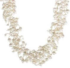"White Freshwater Cultured Pearl Necklace with Sterling Silver Clasp, 17""+2"" Extender: Jewelry: Amazon.com"