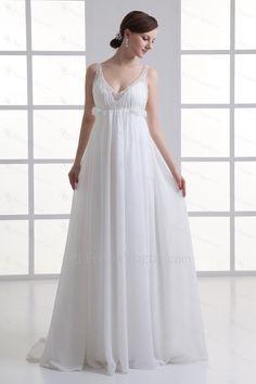 Chiffon v-hals kolonne gulv længde broderet brudekjole - Focus Vogue