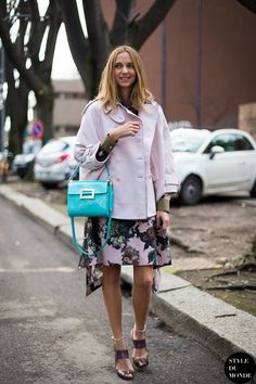 floral skirt with boxy jacket