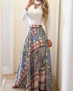 Ethnic Print High Waist Casual Skirt by laviye - 2019 Dresses, Skirt, Shirts & Trend Fashion, Fashion Mode, Look Fashion, Womens Fashion, Classic Fashion, Fashion Fall, Fashion Ideas, Fashion Tips, Classy Outfits