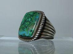 Vintage Moss Agate Sterling Silver Size 11.5 by DanPickedMinerals