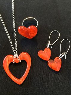 Handmade, fused glass jewelry by Miss Olivia's Line.  #Hearts #ValentinesDay #Love #iloveyou #MOL #orangecrush Additional items posted at https://www.facebook.com/MissOliviasLine