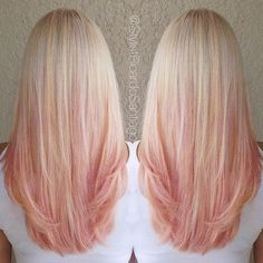 If I ever were to dye my hair an unnatural color, i would totally choose this! So pretty!Strawberry-peach sherbet dreams by @stylistricardosantiago #modernsalon