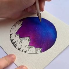 ow beautiful is this aurora sky painting?😍 by 🌌 ⠀ ⠀ ⠀ Anyway, you can get great deals on stationery such as brush pens, pencil Brush Pen Art, Watercolor Brush Pen, Watercolor Galaxy, Watercolor Ideas, Sky Painting, Galaxy Painting, Galaxy Art, Art Sketches, Art Drawings